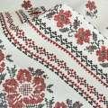 Рогожка набивная світло-сіра з 2-ст. купоном вишивка ш.150