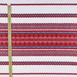 Тканина з українським орнаментом Родинна рушникова, довжина раппорта 240см, ш.148