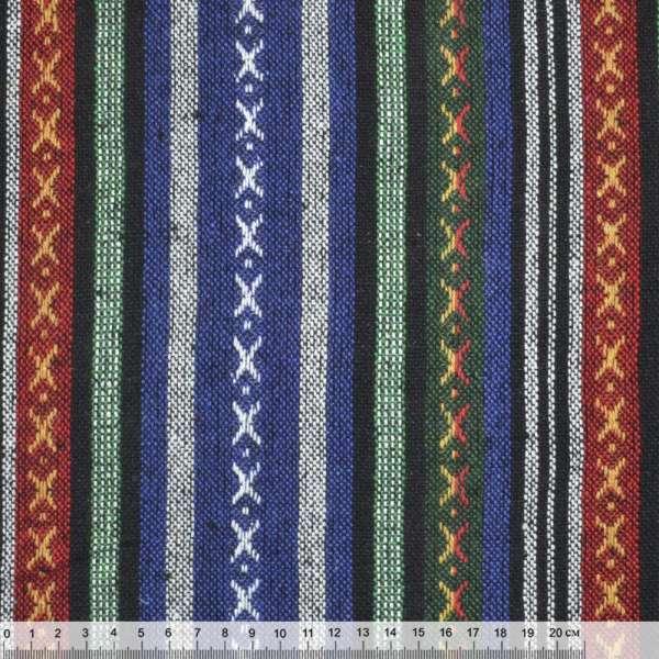 """ткань """"этно"""" сине-зеленые+черные полосы с орнаментом ш.145"""