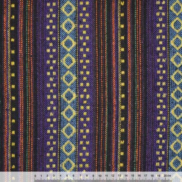 """ткань """"этно"""" сине-черные+голуб. полосы с беж. ромбами  ш.150"""
