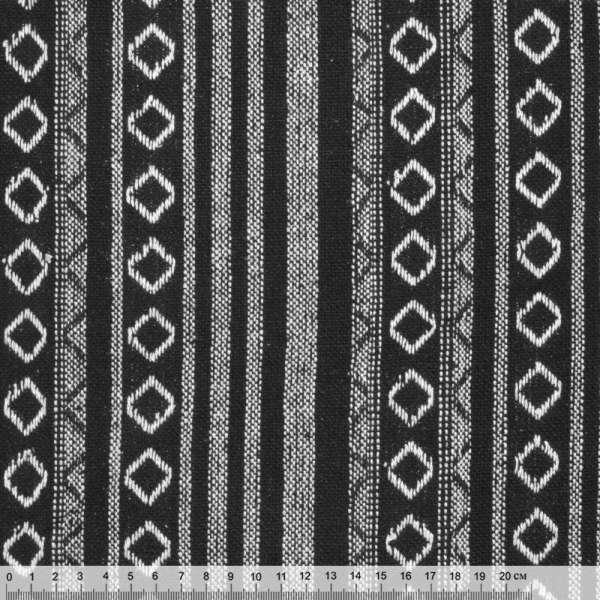 Тканина етно чорна з білими смужками і ромбами ш.145