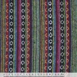 """ткань """"этно"""" черно-красн.+салатов.-голуб. полосы с орнамент ш.150"""