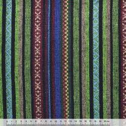 """ткань """"этно"""" зелен-черные+бордово-беж. полосы с орнаментом ш.145"""