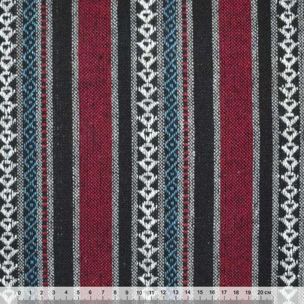 """тканину """"етно"""" чорно-червоні + сірі смуги з орнаментом ш.150"""