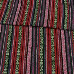 Тканина етно червоні, рожеві, сині смужки з орнаментом ш.150