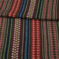 Тканина етно червоні, оливкові, бордові смужки з орнаментом, ш.150