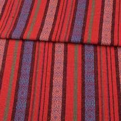 Тканина етно червоні, чорні, сині смужки з орнаментом, ш.146