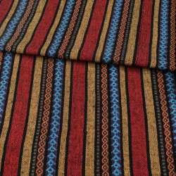 Тканина етно червоні, жовті, фіолетові смужки з орнаментом, ш.142