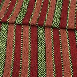 Тканина етно помаранчеві, червоні, чорні смужки з орнаментом, ш.147