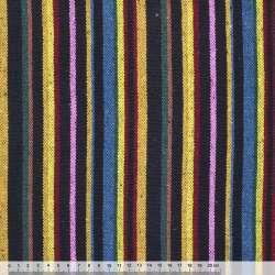 Ткань этно желто-синие, розово-черные полоски ш.150