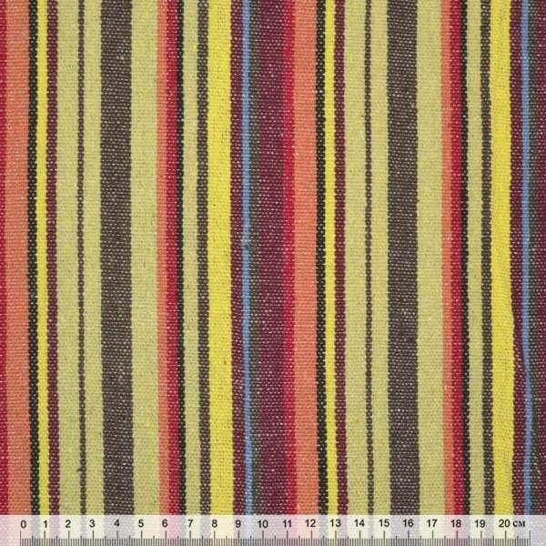 """тканину """"етно"""" коріч.-жовті + бордово-червоні смужки ш.150"""