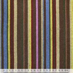 Ткань этно желто-синие, бежево-коричневые полоски ш.149