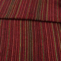 Тканина етно чорна, червоні, помаранчеві, жовті смужки ш.150