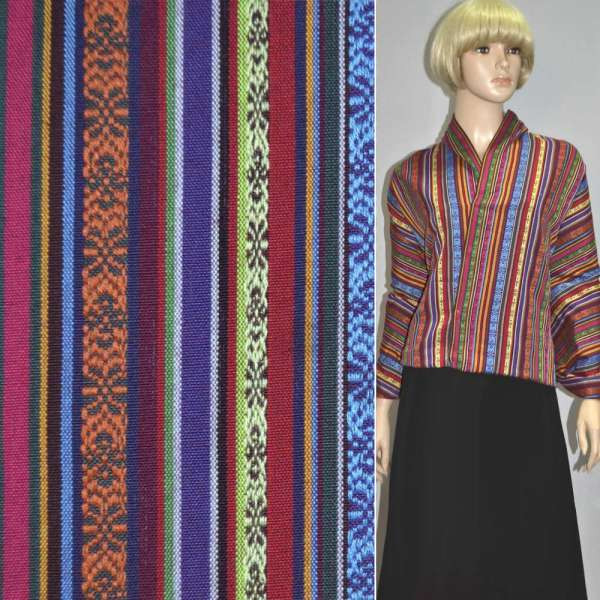 "тканину ""етно"" фіолет. + черв. + жовтий. смуги з орн. ш.150"