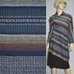 Ткань этно коричневые, желтые, темно-синие полоски с орнаментом ш.150