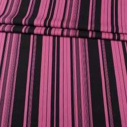 Льон малиновий у чорні смуги ш.143