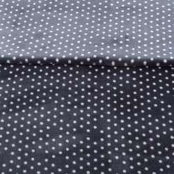 Велсофт односторонний сине-серый в белый горох, ш.180