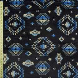 Велсофт двухсторонний синий темный в бежево-голубой орнамент ш.185