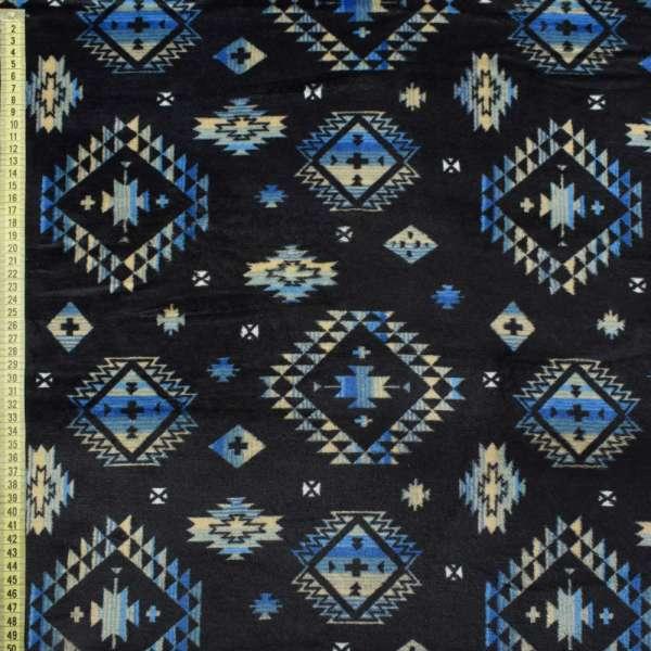 Велсофт двосторонній синій темний в бежево-блакитний орнамент ш.185