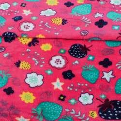 Велсофт двосторонній малиновий яскравий, різнокольорові ягоди, квіти, ш.180