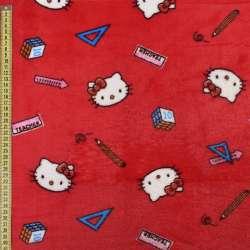 Велсофт двухсторонний красный, кошечки Китти, ш.185