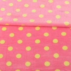 Велсофт двухсторонний розовый яркий в желтый горох, ш.160
