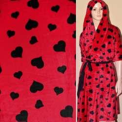 Велсофт-махра червона з чорними серцями ш.190