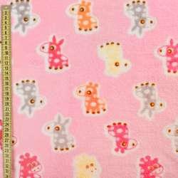 Велсофт двосторонній рожевий, помаранчеві, рожеві ослики, жирафи, ш.185