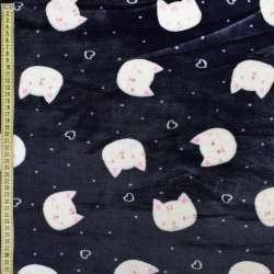 Велсофт синій темний, білі кішки, сердечка, ш.185