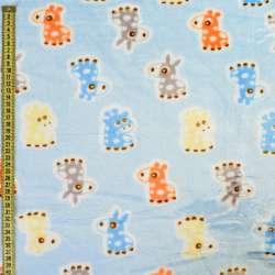 Велсофт блакитний, помаранчеві, блакитні ослики, жирафи, ш.185