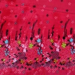 Велсофт-махра червона купон квіти ш.190