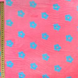 Велсофт рожевий в блакитні квіточки, ш.220