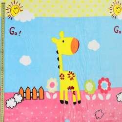Велсофт блакитний, жирафи, квіти, хмари, рожева облямівка, ш.220