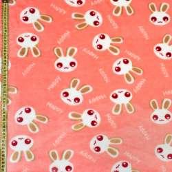 Велсофт персиковий, білі зайчики, ш.220