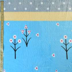 Велсофт блакитний світлий, жовті, сірі смужки, білі квіти, горох, ш.220