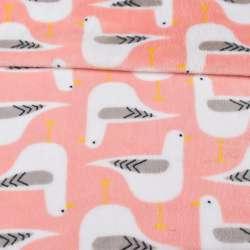 Велсофт двухсторонний розовый, белые птички, ш.220