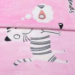 Велсофт двухсторонний розовый, белые кошки, ш.230