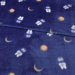 Велсофт двухсторонний синий, мишки в космосе, ш.185