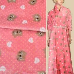 Велсофт двухсторонний розовый в желтый горох, бежевые кошечки, сердечки, ш.185
