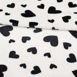 Велсофт двосторонній білий в чорні сердечка ш.185