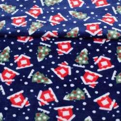 Велсофт двосторонній синій, червоні будиночки, зелені ялинки, ш.185