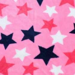 Велсофт двосторонній рожевий яскравий, сині, білі, малинові зірки, ш.180