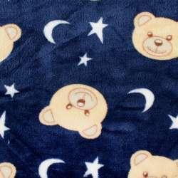 Велсофт двосторонній синій, бежеві ведмедики, білі зірочки, ш.185