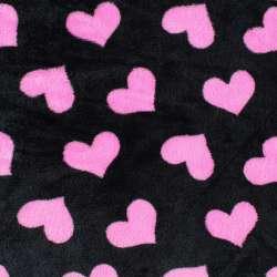 Велсофт двосторонній чорний, рожеві сердечка, ш.185