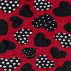 Велсофт двосторонній червоний, чорні сердечка, ш.185