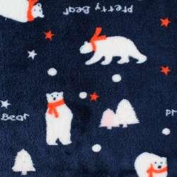 Велсофт двосторонній синій, білі ведмедики в червоних шарфиках, ш.185