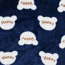 Велсофт двосторонній синій, білі мордочки HAPPY, ш.185