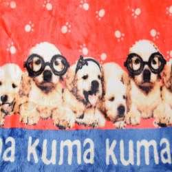 Велсофт двухсторонний красный, белые лапки, щенки, 2ст купон, ш.180
