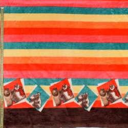 Велсофт двухсторонний разноцветные полоски, Медведи-соседи, 2ст.купон, ш.185