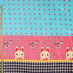 Велсофт двухсторонний мятный в розовый горох, зайчик, розовая кайма, 2ст.купон, ш.185